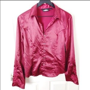 Harley Davidson red silky button front blouse L